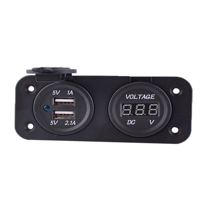 Motorcycle Modified 3.1A Dual USB Charger With 6-33V Voltmeter - Black
