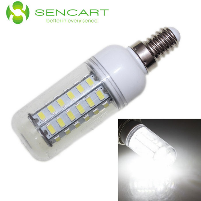 SENCART E14 10W LED Decorative Corn Bulb Cold White Light (100~240V)E14<br>Form  ColorWhite + TransparentColor BINCool whiteMaterialPCB + PVCQuantity1 DX.PCM.Model.AttributeModel.UnitPower10WRated VoltageAC 100-240 DX.PCM.Model.AttributeModel.UnitConnector TypeE14Chip BrandOthers,N/AChip Type5730Emitter TypeOthers,5730 SMD LEDTotal Emitters48Theoretical Lumens900 DX.PCM.Model.AttributeModel.UnitActual Lumens800 DX.PCM.Model.AttributeModel.UnitColor Temperature6500KDimmableNoBeam Angle360 DX.PCM.Model.AttributeModel.UnitCertificationRoHS / CEPacking List1 x Light bulb<br>