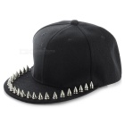 Punk Style Summer Cotton + Rivets Decorated Snapback Cap - Black