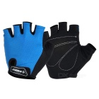 INBIKE Outdoor Cycling Shockproof Mesh Fabric + Sponge Half-Finger Gloves - Blue + Black (L / Pair)