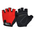 INBIKE Outdoor Cycling Shockproof Mesh Fabric + Sponge Half-Finger Gloves - Red + Black (M / Pair)