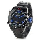 WEIDE WH-2310 Men's Stainless Steel LED Quartz + Digital Analog Wrist Watch - Black + Blue (1 x 626)