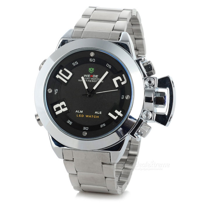 WEIDE WH-1008 Men's Stainless Steel LED Quartz Watch - Black + Silver