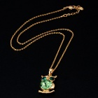 Green Crystals Inlaid Mighty Owl Style Pendant Necklace - Golden
