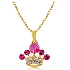 Crystals Inlaid Exquisite Small Crown Style Pendant Necklace - Golden