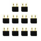 Jtron Double 3.5mm Male to Female Headphones Plug Plane - Black (10 PCS)