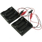 4-Slot AA Battery Holders w/ Alligator Clip Test Lead Cable - Black (6V / 2 PCS)