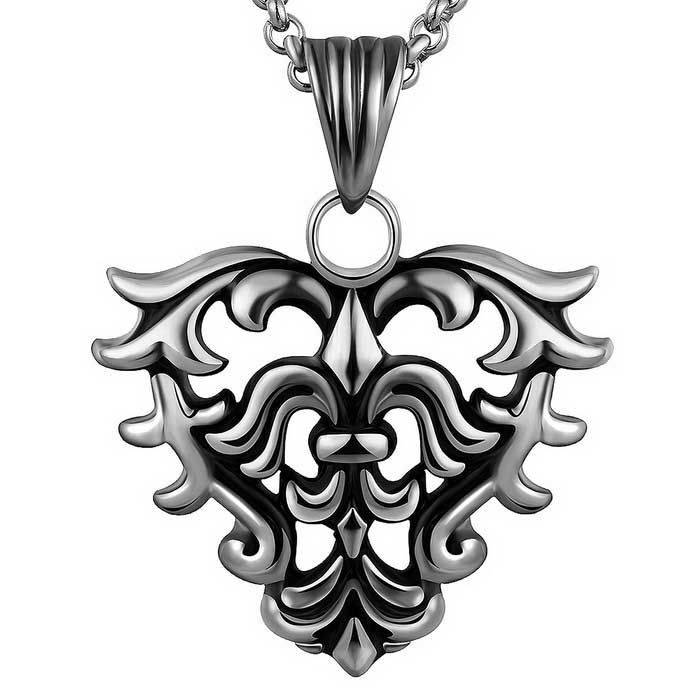 N009 Retro Steel Heart-shaped Pendant Necklace - Ancient Silver + Black