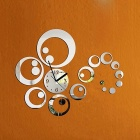 Fashion Removable Bubble Style Mirror DIY Art Clock Wall Stickers for Home Decor - Silver