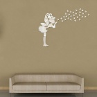 Angel Fairy + Stars Style DIY Art Mirror Home Decal Wall Sticker Set - Silver