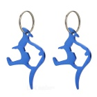 AoTu AT7613 Creative Kangaroo Style Aluminum Alloy Keychain w/ Bottle Opener - Blue (2 PCS)