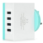 YXT-TR400 6.2A USB 2.0 4-Port UK Plug Power Charger w/ Cooling Holes - White + Light Blue