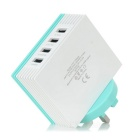 YXT-TR400 4-USB UK Plug Charger w/ Cooling Holes - White + Light Blue