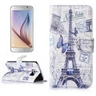 Hat-Prince Protective Case w/ Stand / Card Slots for Samsung Galaxy S6 G9200 - Purple + White