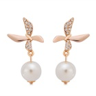 Imitation Pearl Leaf Butterfly Style Earrings - Rose Gold (Pair)