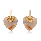 Heart-shaped Rhinestone-studded Freshwater Shell Earrings - Golden (Pair)
