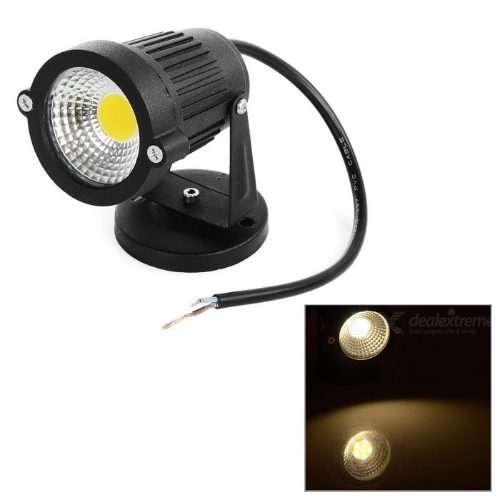 3W COB LED-spot / gazon lamp warm wit 3500K 160LM - zwart