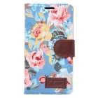 Stylish Flower Pattern Protective PU Leather Case w/ Stand / Card Slots for SONY Xperia Z4