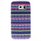 Luxury National Style TPU Back Case Cover for Samsung Galaxy S6 - Blue + Pink
