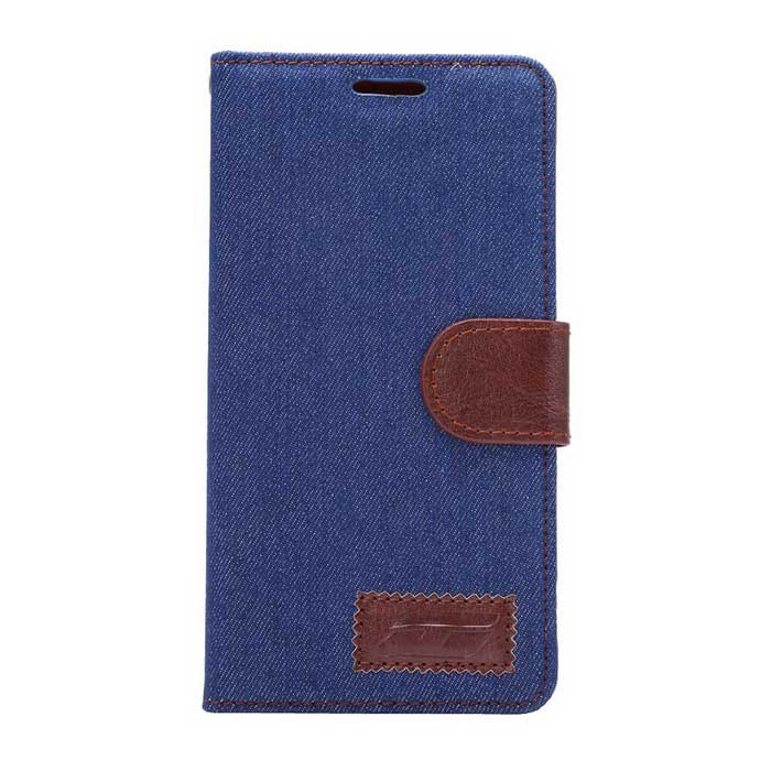 Denim Fabric Style Case w/ Stand, Card Slots for Xperia Z4 - Blue