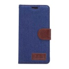 Denim Fabric Style Flip-Open PU Leather Case w/ Stand / Card Slots for SONY Xperia Z4 - Blue + Brown