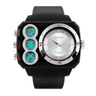 SKMEI 50m Waterproof Dual-Movement Digital + Analog Men's Shockproof Watch - Black + Silver