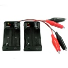 2-Slot AA Battery Holders w/ Alligator Clip Test Lead Cable - Black (3V / 2 PCS)