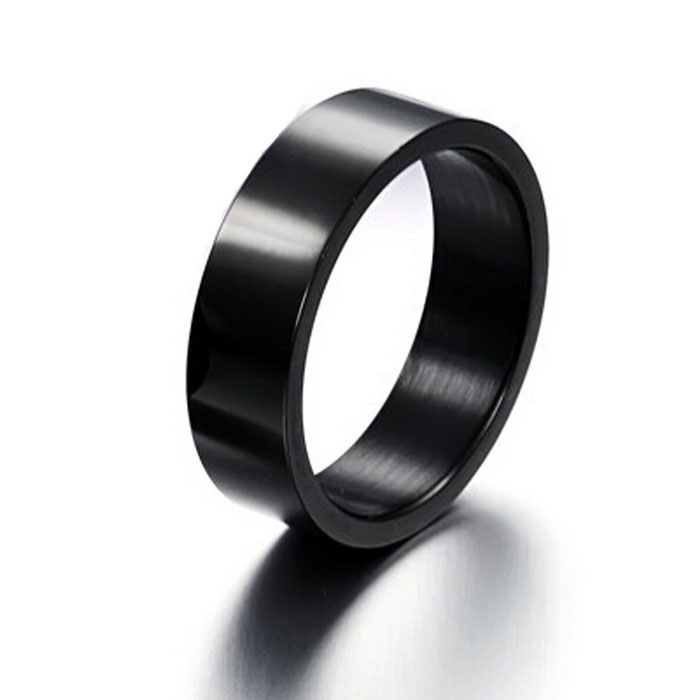 Men's Simple Smooth Iron Ring - Greyish Black (US Size 11)