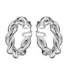 E593 Fashionable Round Ear Loops Earrings - Silvery White (Pair)