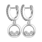 E602 Stylish Women's Zircon Decorated Hoop Hanging Earrings - Silvery White (Pair)