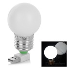 5W USB Energy-Saving120lm 7500K LED Bulb Night Lamp - White + Silver