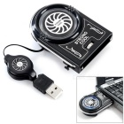 USB 3800rpm 12-Blade Cooling Fan for Laptops - Black
