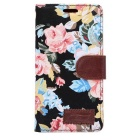 Flower Pattern PU Case w/ Stand & Card Slot for Xperia Z4 - Black+Pink