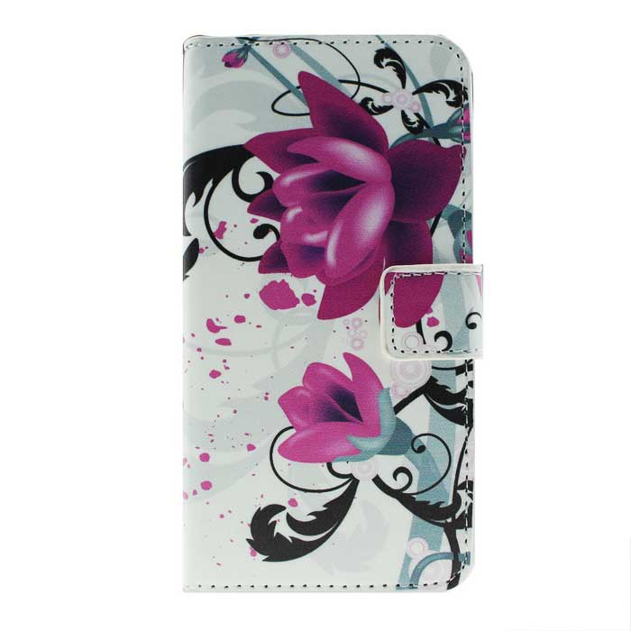 MO.MAT Floral PU Wallet Case w/ Card Slot for Samsung S6 - White + Red