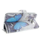 Butterfly Wallet Case w/ Card Slot for Samsung S6 - White+Blue