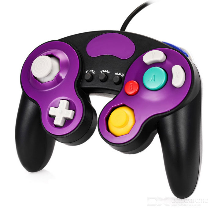 Wired Game Controller voor Wii / Wii U / GameCube - Black + Purple