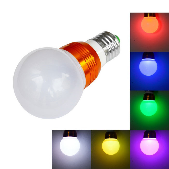 JIAWEN E27 5W LED Ball Bulb RGB Light 200lm w/ Remote - Golden + White