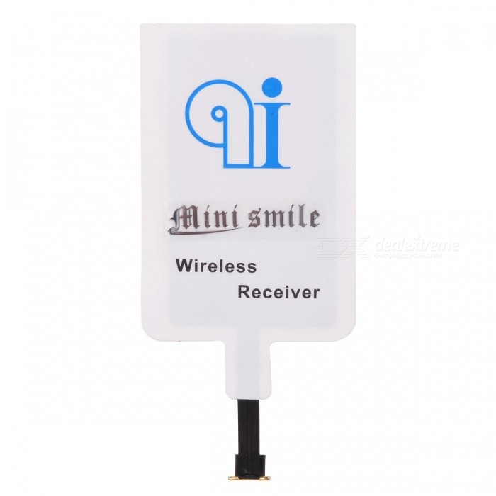 MINI SMILE Micro USB Qi Wireless Charger Receiver Pad - White