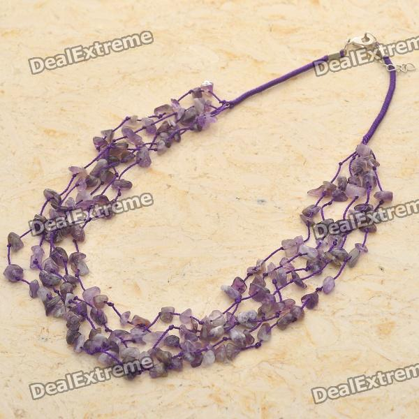 Natural AAA Brazilian Amethyst Gemstone 5-Strand Necklace