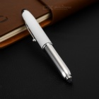 3-in-1 Universal Aluminum Alloy + Silicone Stylus Pen w/ Ballpoint Pen / LED Light - White + Silver