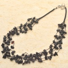 Natural Black Onyx Gemstone 5-Strand Necklace