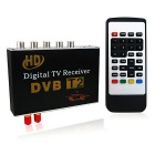 DVB-T2 HD Double Tuner Car Digital TV Receiver Set w/ Remote / Set-top Box - Black