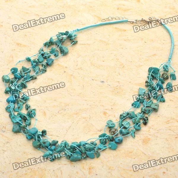 Natural American Turquoise Gemstone 5-Strand Necklace