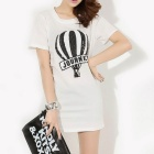 Women's Leisure Long Hip Bottoming Sequins Decorated Balloon Pattern Loose T-shirt Dress - White (L)