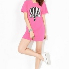 Women's Leisure Long Hip Bottoming Sequins Decorated Balloon Pattern Loose T-shirt Dress - Pink (XL)