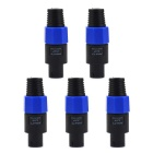 Jtron Professional Four Core Speaker Plug Acoustics Wire Connectors - Black + Blue (5 PCS)