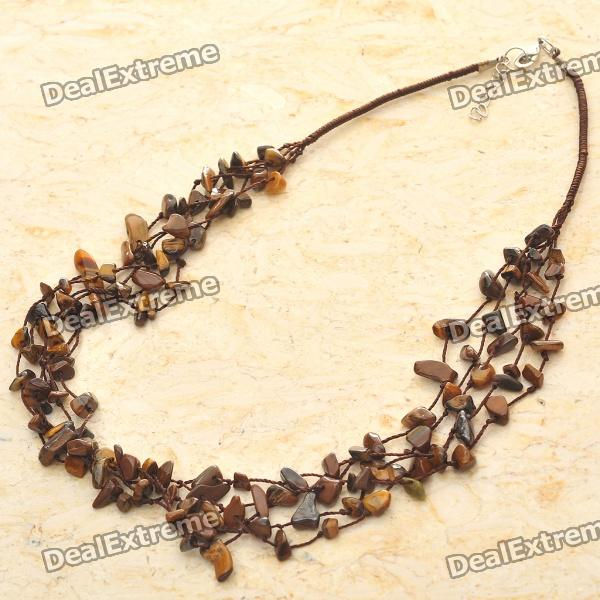 Natural Tiger Eye Gemstone 5-Strand Necklace new original cpu cooling fan for asus k550d k550dp dc brushless cpu cooler radiators laptop notebook cooling fan ksb0705ha cm1c