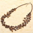 Natural Tiger Eye Gemstone 5-Strand Necklace