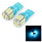 T10 2W 35lm 450~490nm Ice Blue 10-SMD 7020 LED Car Tail / Steering Lamps (12V / 2PCS)