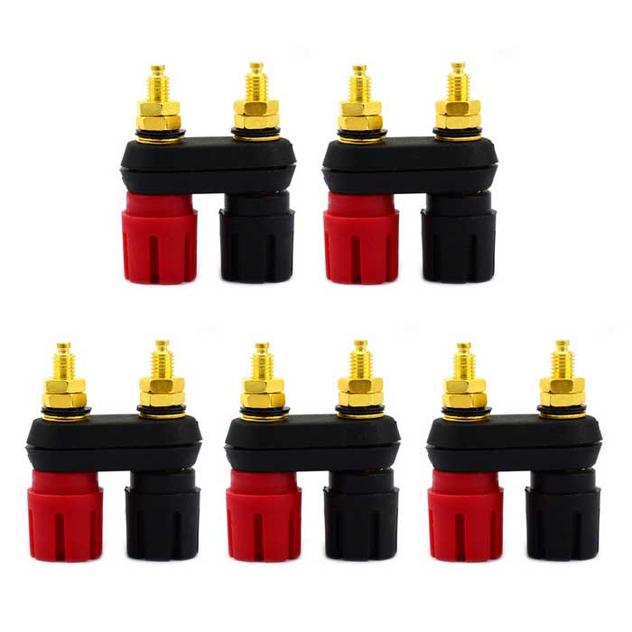 Jtron Fever Stereo Terminal Gold-plated Amplifier Output Terminal Audio Socket - Black + Red (5 PCS)
